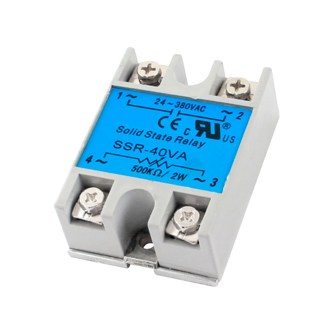 SSR-40VA AC24-380V 500K Ohm/2W 40VA Metal Base Single Phase Resistance Type Adjustable Solid Module State Relay