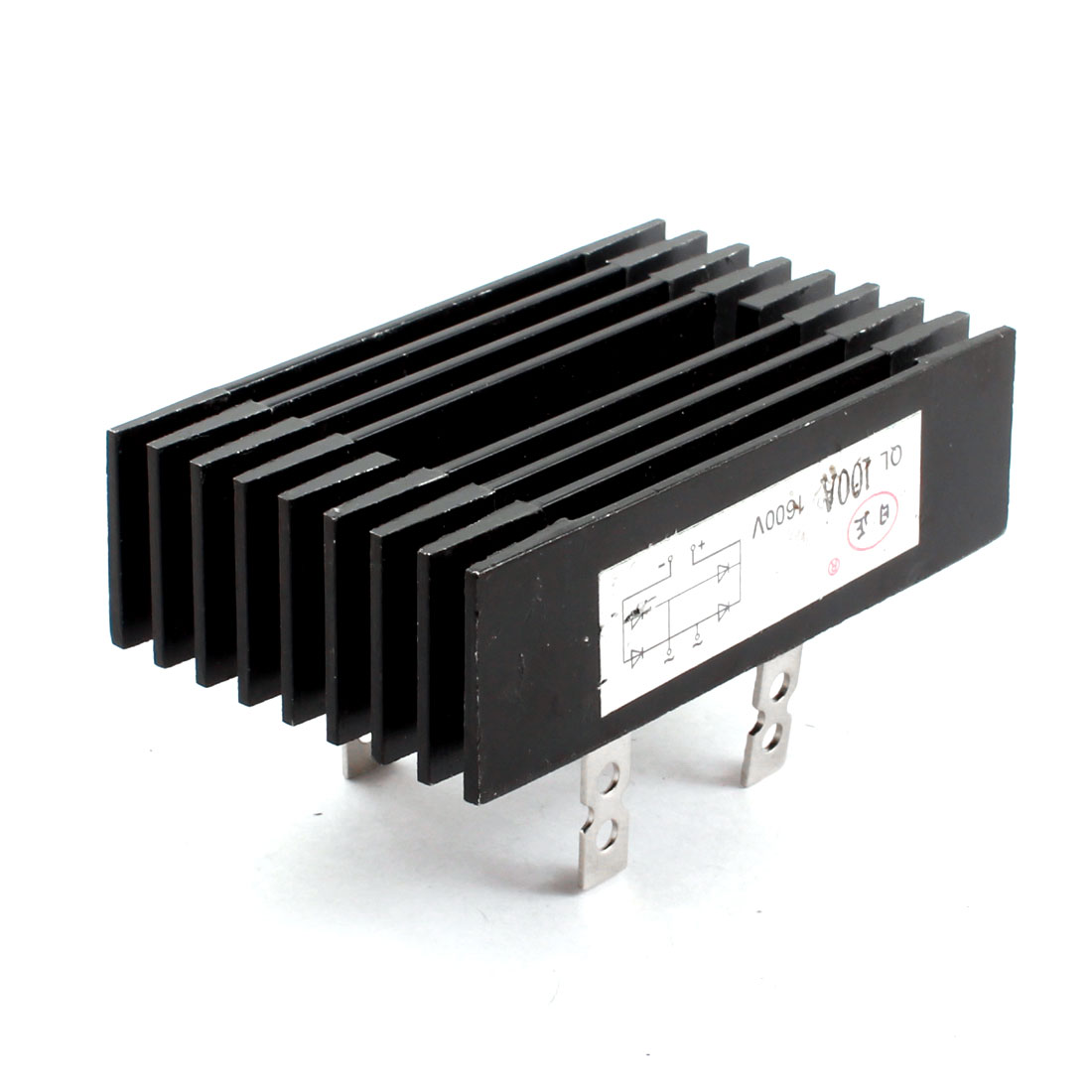 QL Type Black Aluminum Casing Heatsank 1600V 100A 4Pins Single Phase Diode Bridge Rectifier