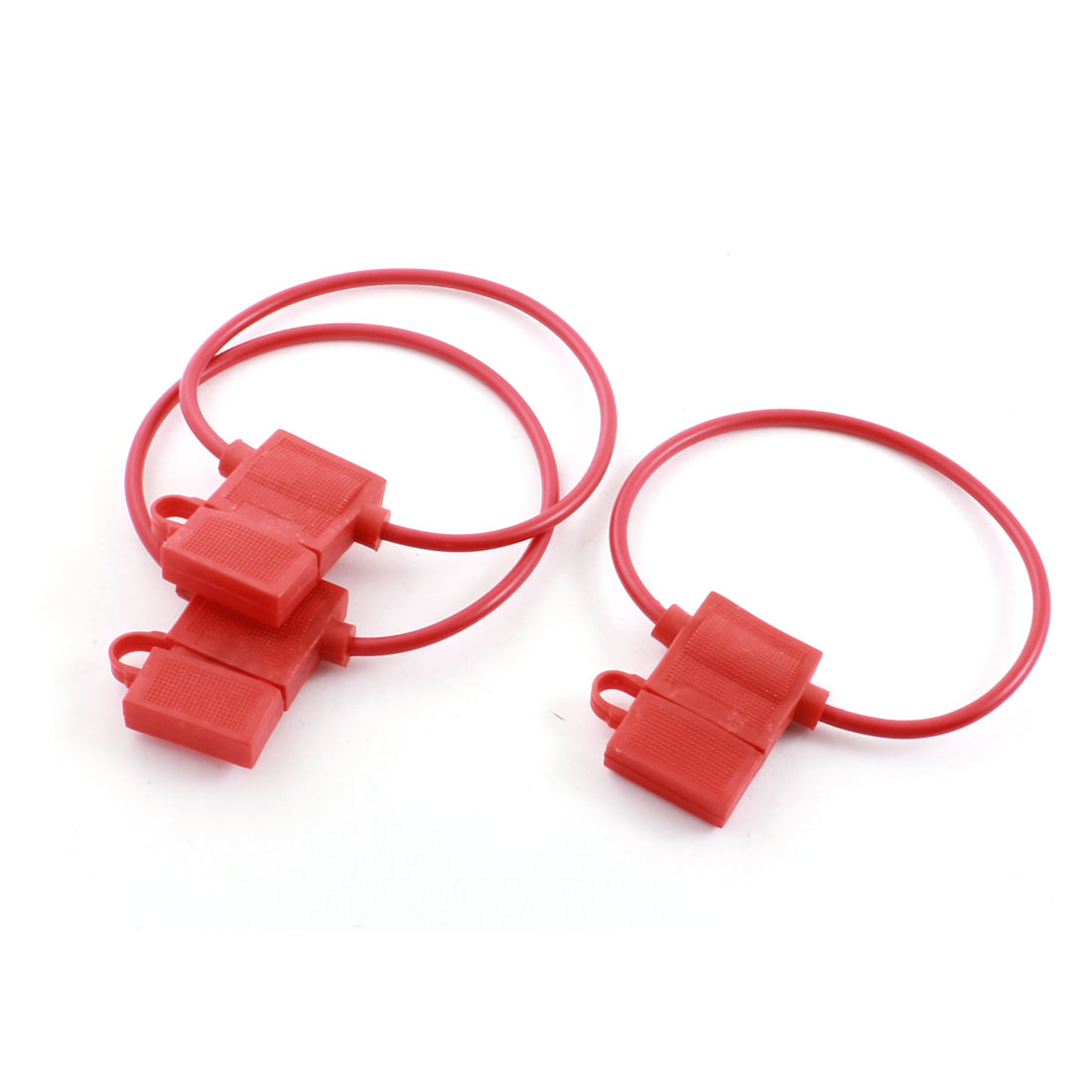 3pcs Red Shell Audio ATC Blade Inline Wired Fuse Holder Case Box for Auto Car Truck