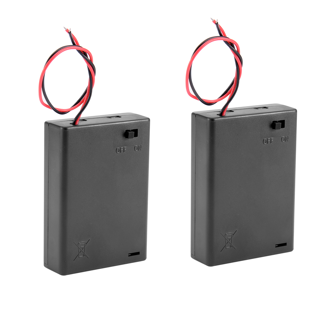 2 Pcs Wired ON/OFF Switch 3 x AA 4.5V Battery Holder Case w Cover