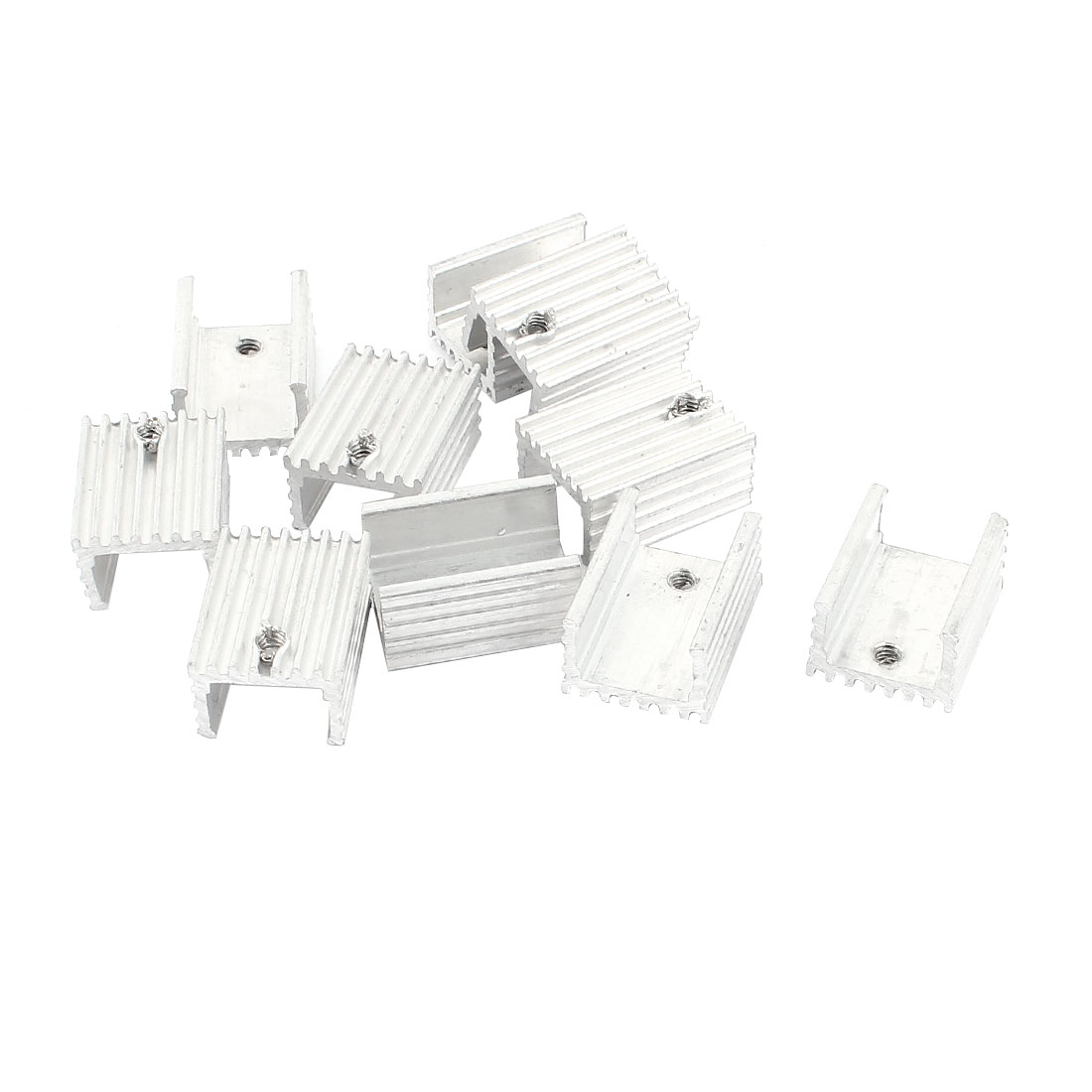 10 Pcs Silver Tone Aluminum Heat Sink 20x15x10mm for TO-220 Transistors