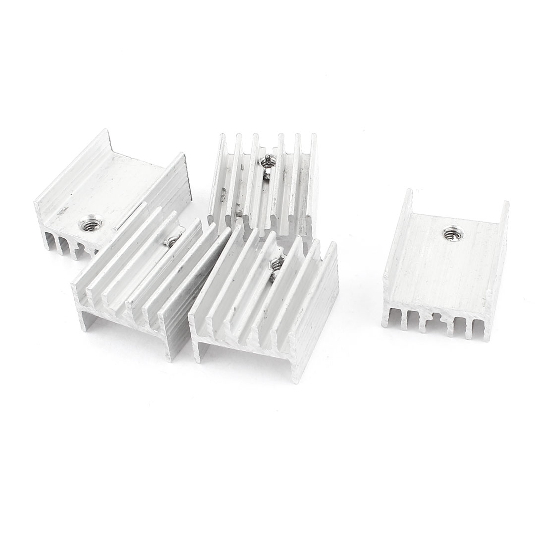 5 Pcs Silver Tone Aluminum Heat Sink 19x15x10mm for TO-220 Transistors