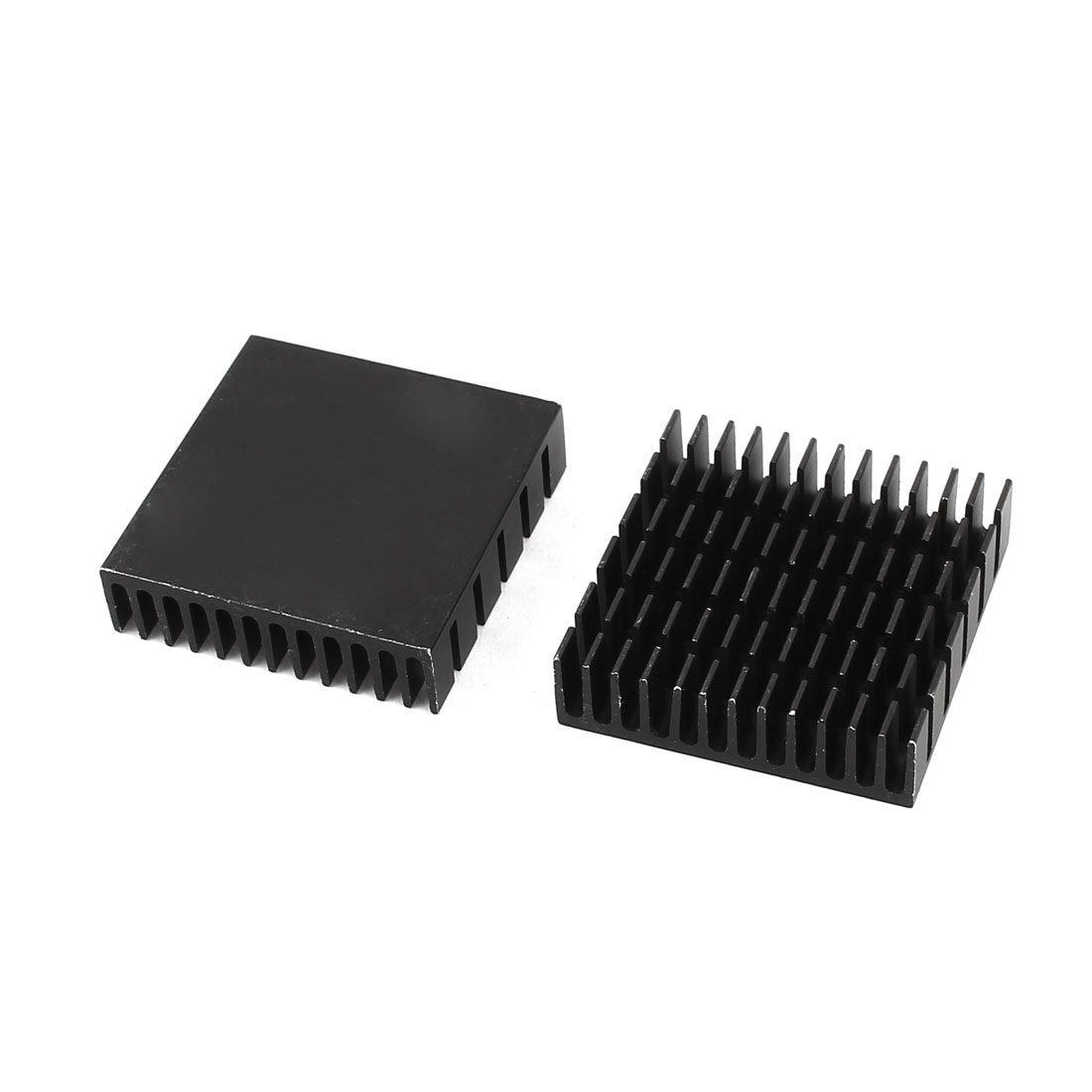 2 Pcs Black Aluminum Radiator Heat Sink Heatsink 40x40x11mm