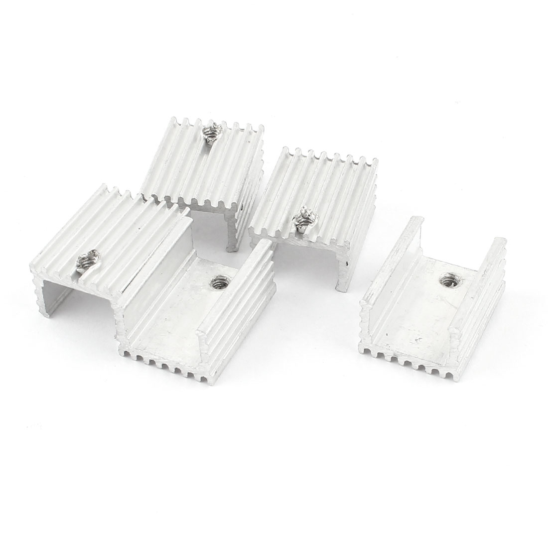 5 Pcs Silver Tone Aluminum Heat Sink 20x15x10mm for TO-220 Transistors