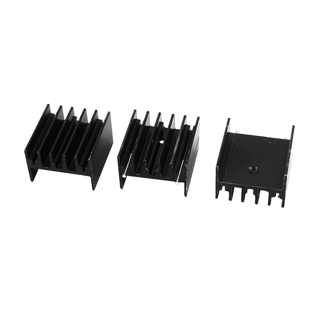 3 Pcs Black Aluminum Heat Sink 25x23x16mm for TO-220 Transistors