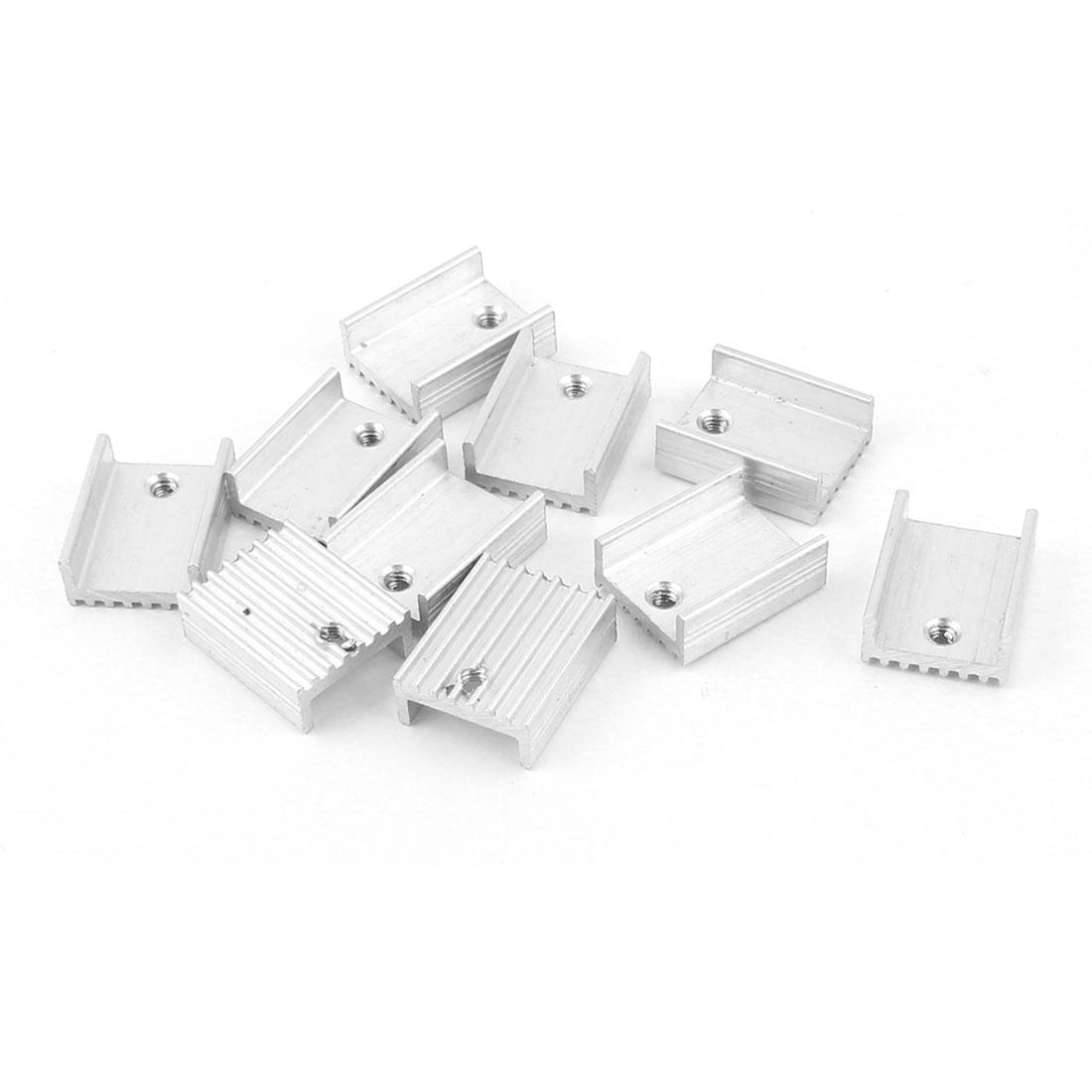10 Pcs Silver Tone Aluminum Heat Sink 20x15x7mm for TO-220 Transistors