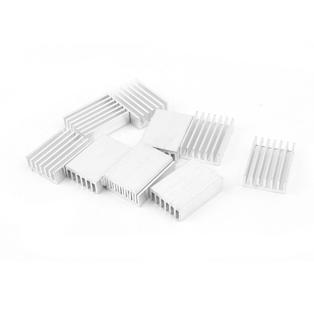 10 Pcs Silver Tone Aluminum Radiator Heat Sink Heatsink 20x14x6mm