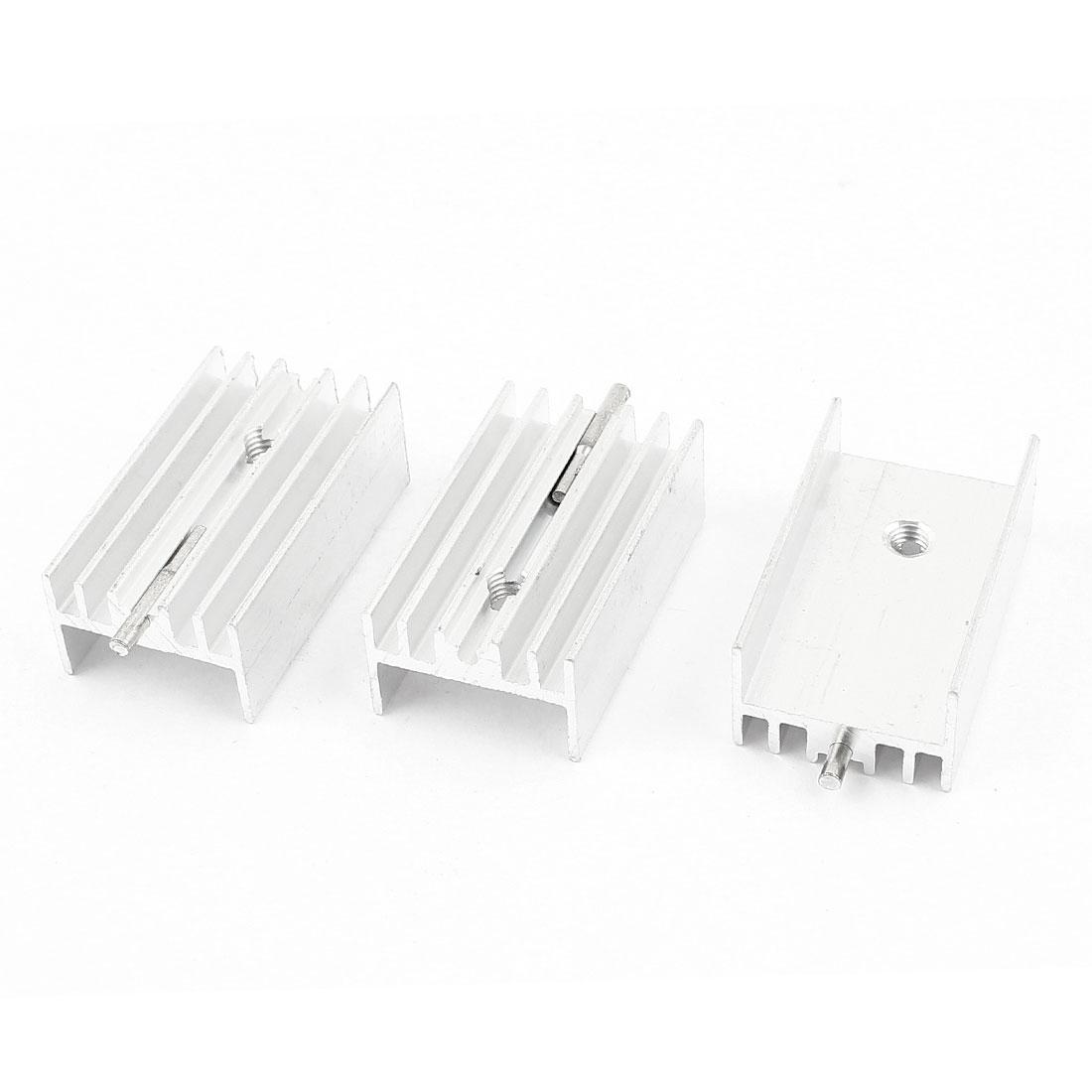 3 Pcs Silver Tone Aluminum Heat Sink 25x15x10mm for TO-220 Transistors