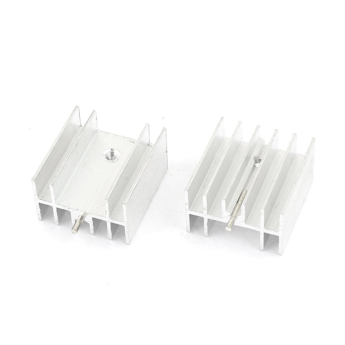 2 Pcs Silver Tone Aluminum Heat Sink Heatsink 23x16x25mm for TO220 Transistor