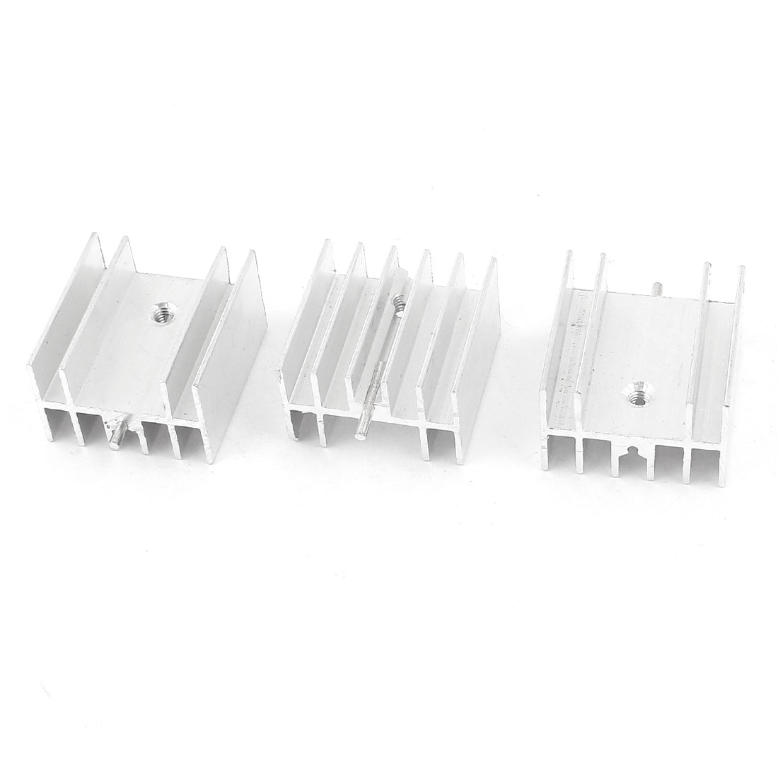 3 Pcs Silver Tone Aluminum Heat Sink 25x23x16mm for TO-220 Transistors