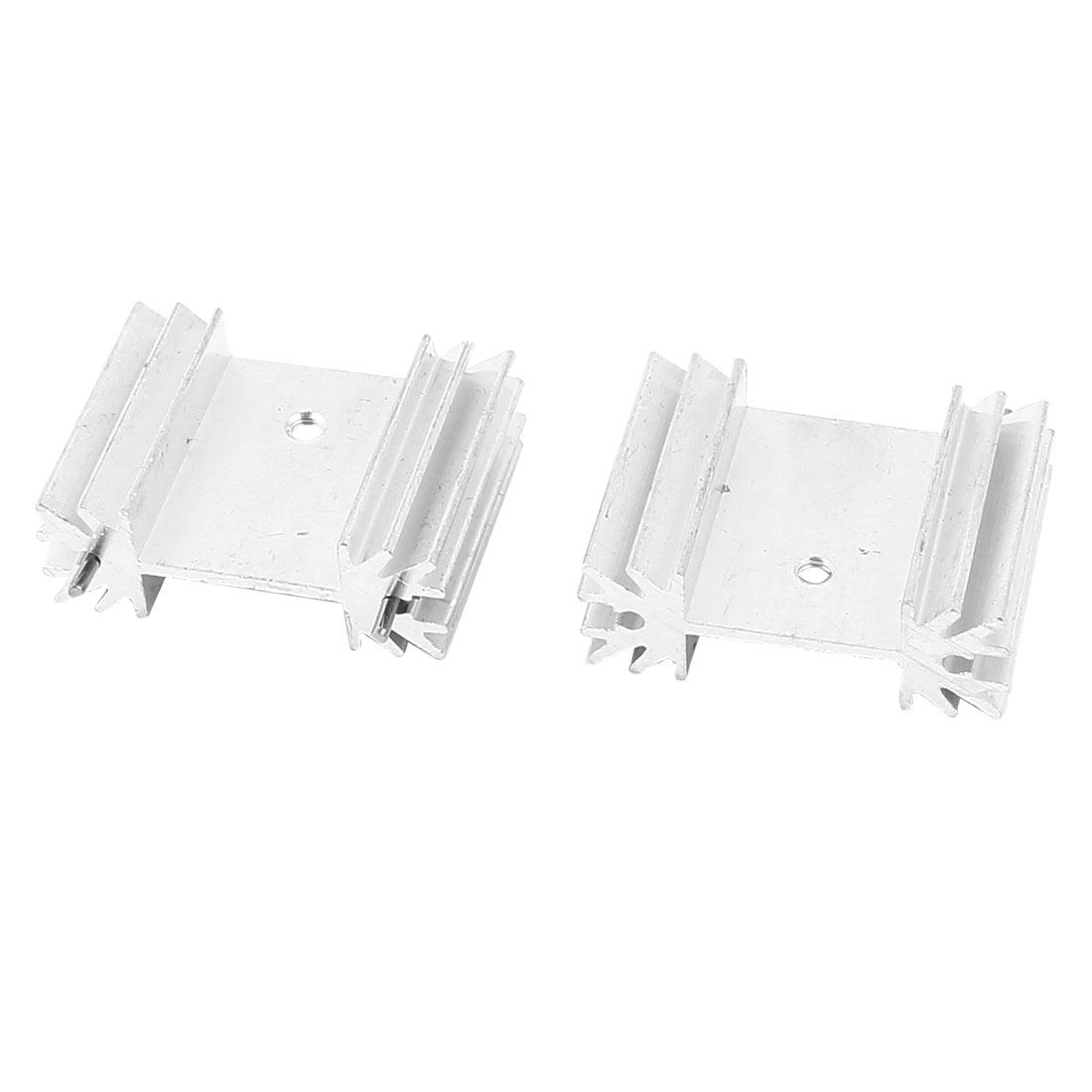 2 Pcs Silver Tone Aluminum Heat Sink 34x25x12mm for TO-220 Transistors