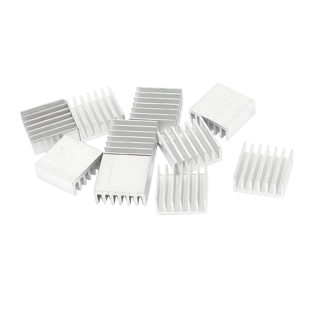 10 Pcs Silver Tone Aluminum Radiator Heat Sink Heatsink 14x14x6mm