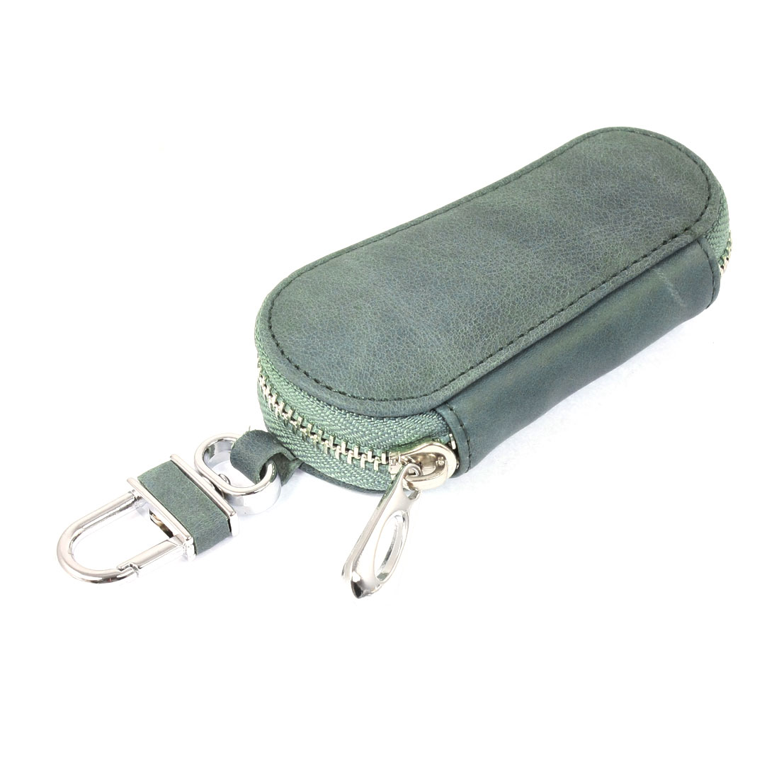 Green Faux Leather Zip-up Padlock Hook Car Key Keychain Holder Case Bag