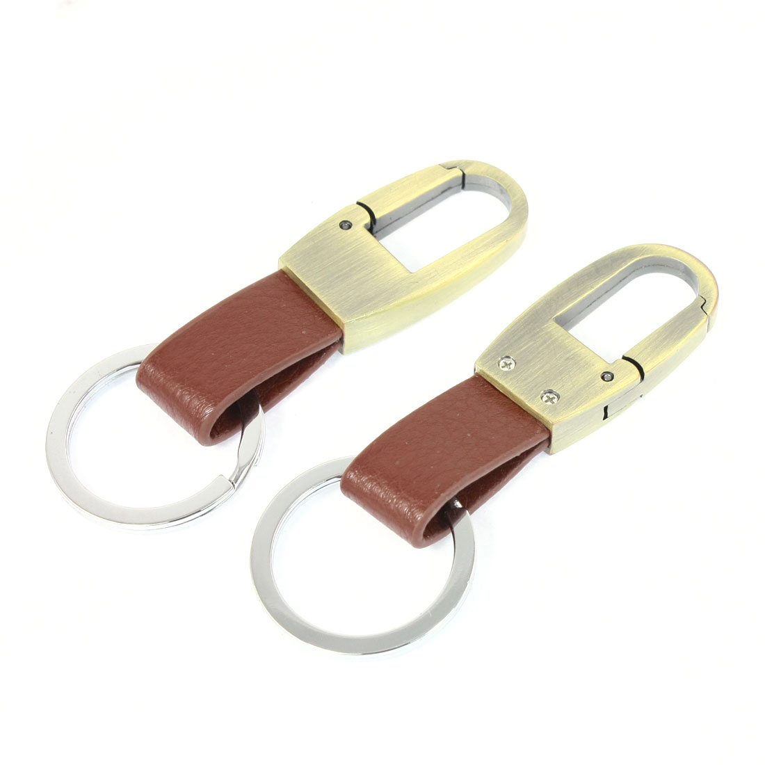2 Pcs Bronze Tone Dual Loops Brown Faux Leather Strap Car Keyring Key Chain