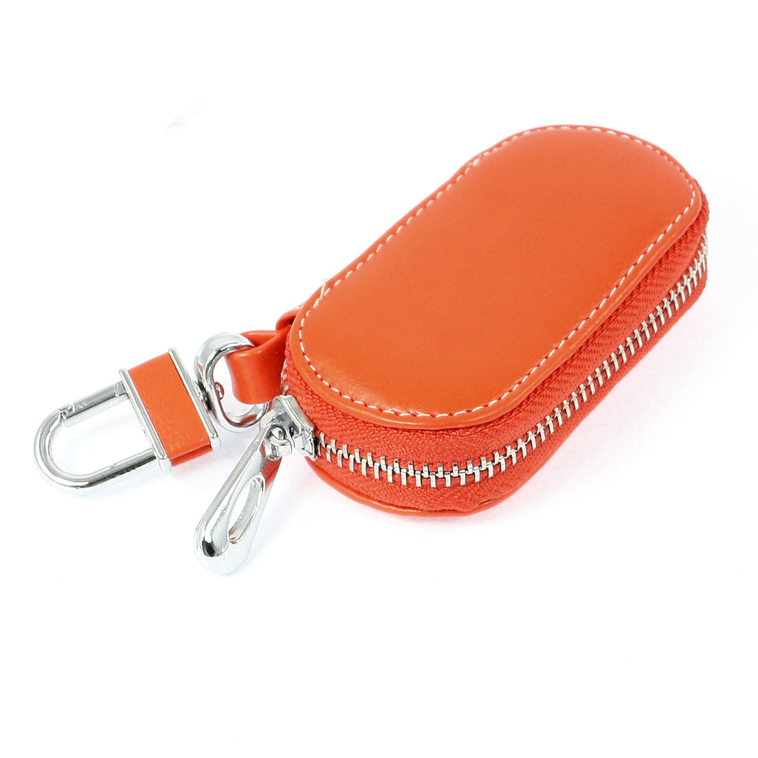 Orange Faux Leather Rectangle Shape Spring Loaded Hook Keys Holder for Car