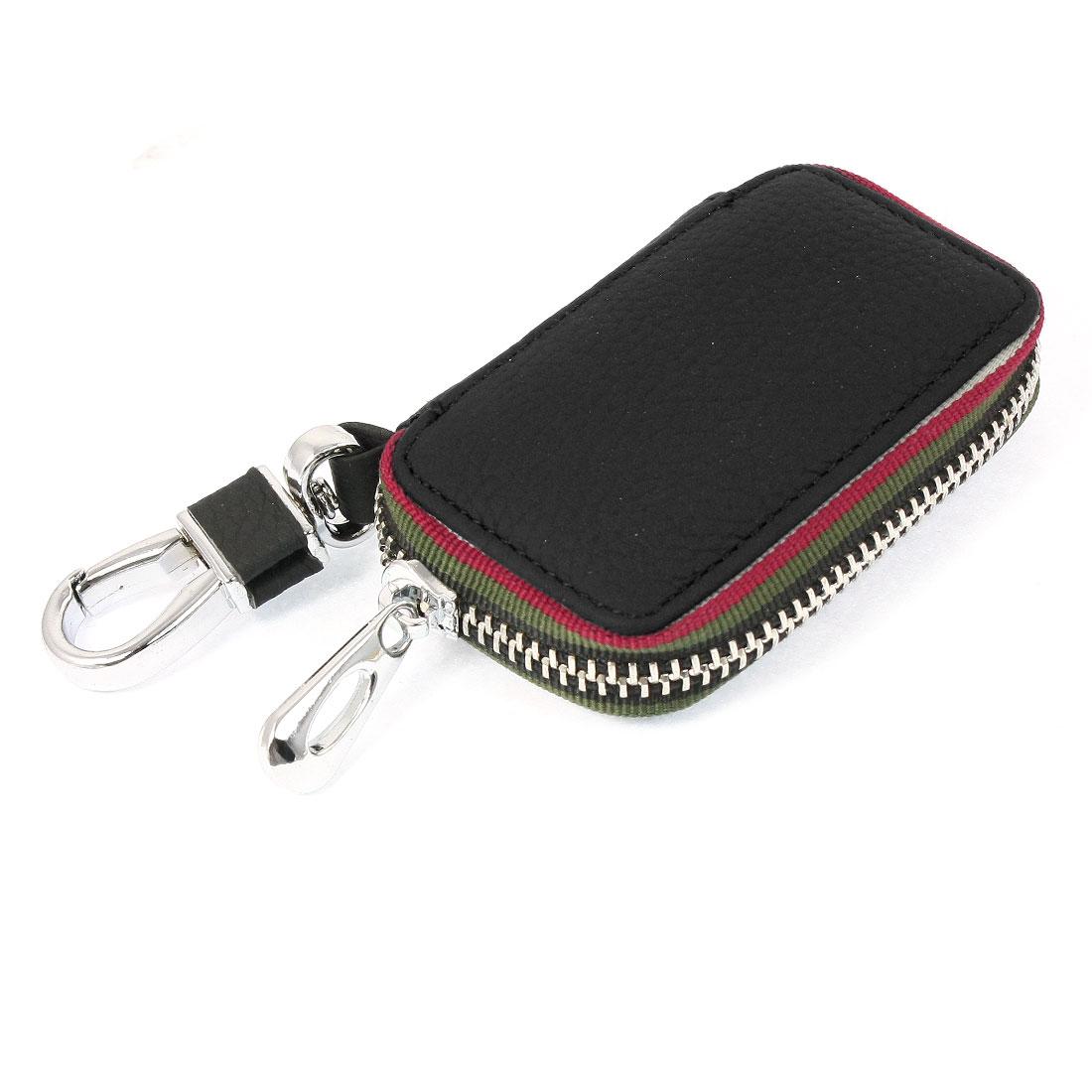 Car Black Faux Leather Zip Closure Remote Key Holder Case
