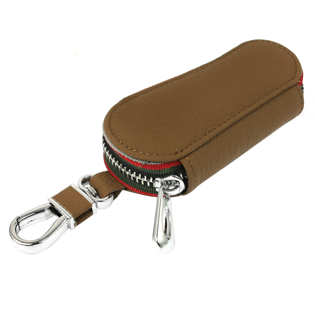 Brown Faux Leather Rectangle Shape Spring Loaded Hook Keys Holder Case for Car