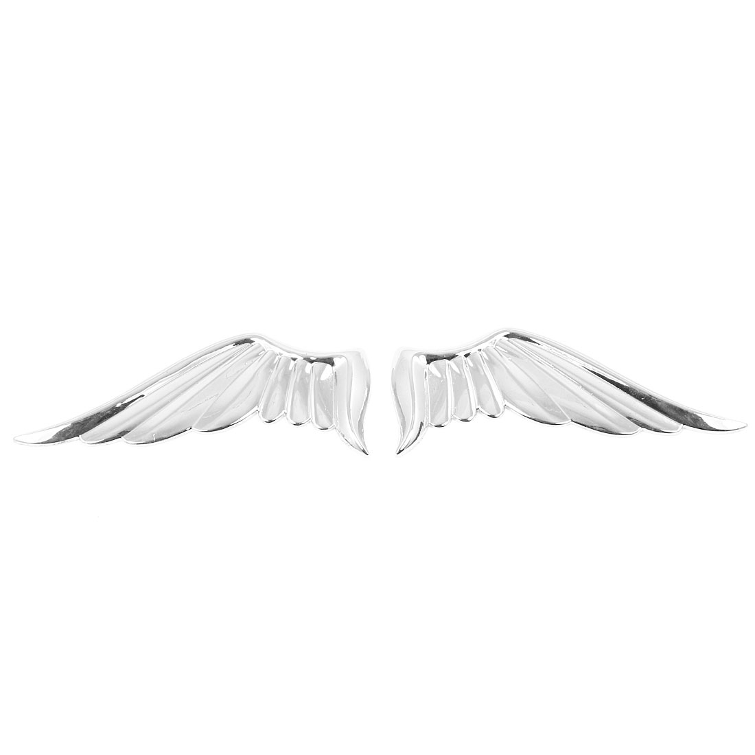 Pair Silver Tone Angel Wings Style Badge Sticker Ornament for Auto Car