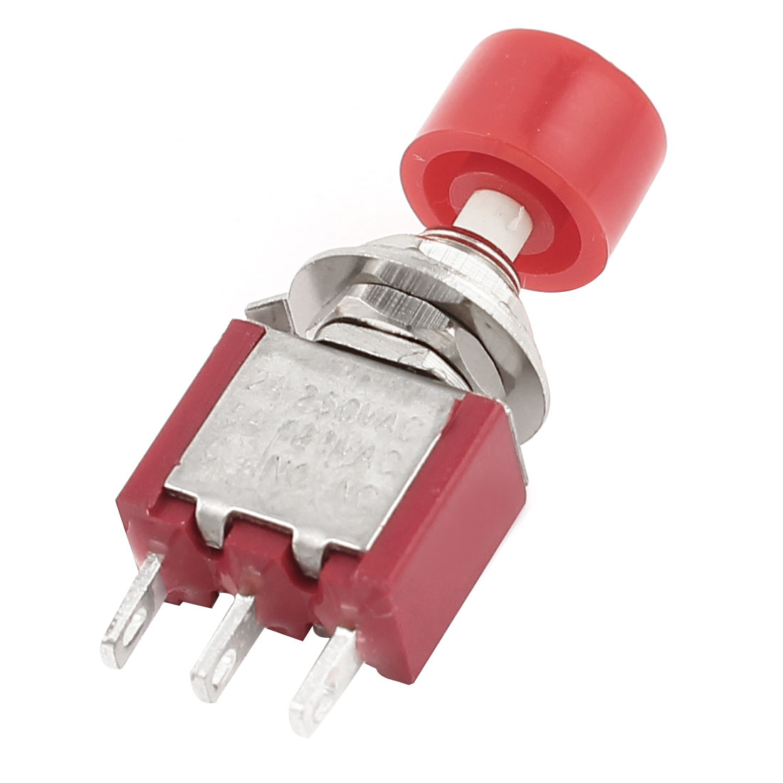 AC 120V 5A SPDT 1NO 1NC Momentary Red Round Push Button Switch