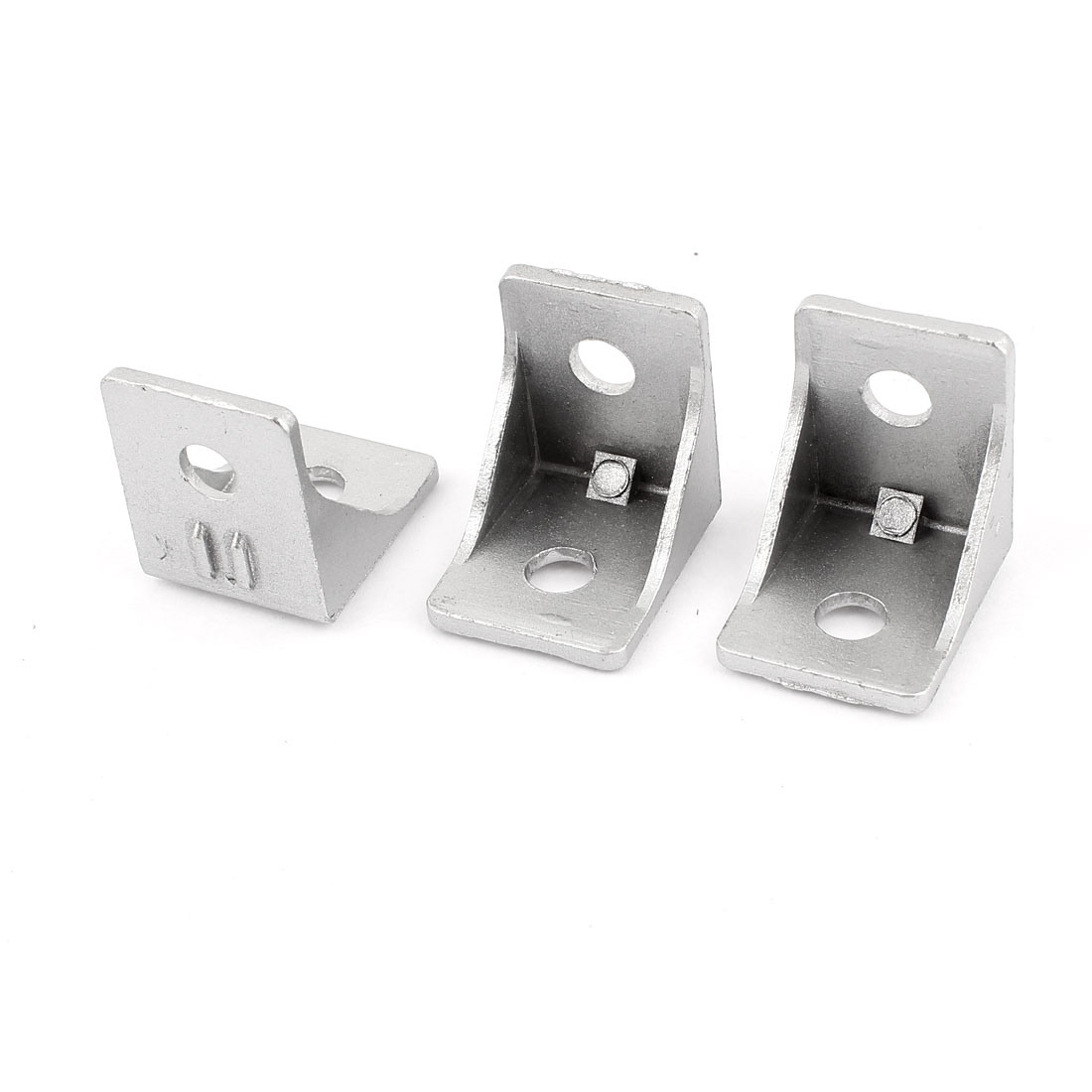 3 Pcs Silver Tone Metal 90 Degree Door Angle Bracket 30mm x 30mm