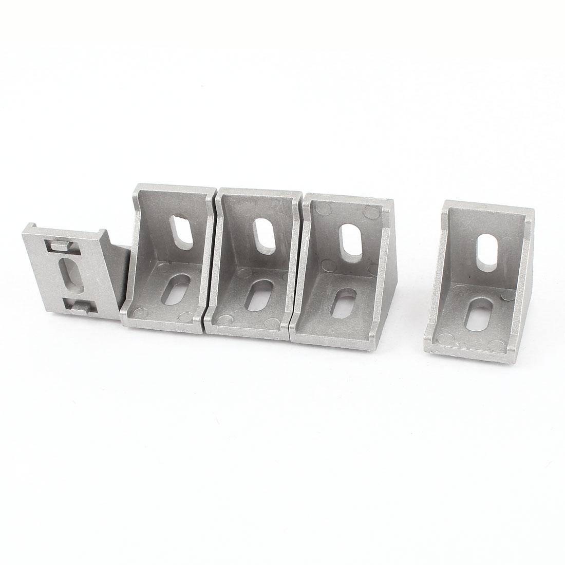 5 Pcs Silver Tone Metal 90 Degree Door Angle Bracket 34mm x 34mm