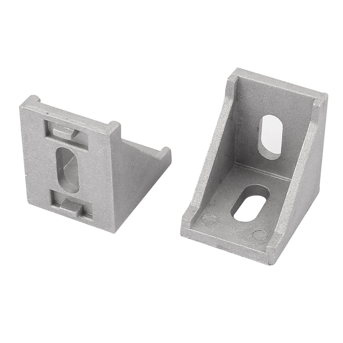 2 Pcs Silver Tone Metal 90 Degree Door Angle Bracket 30mm x 30mm