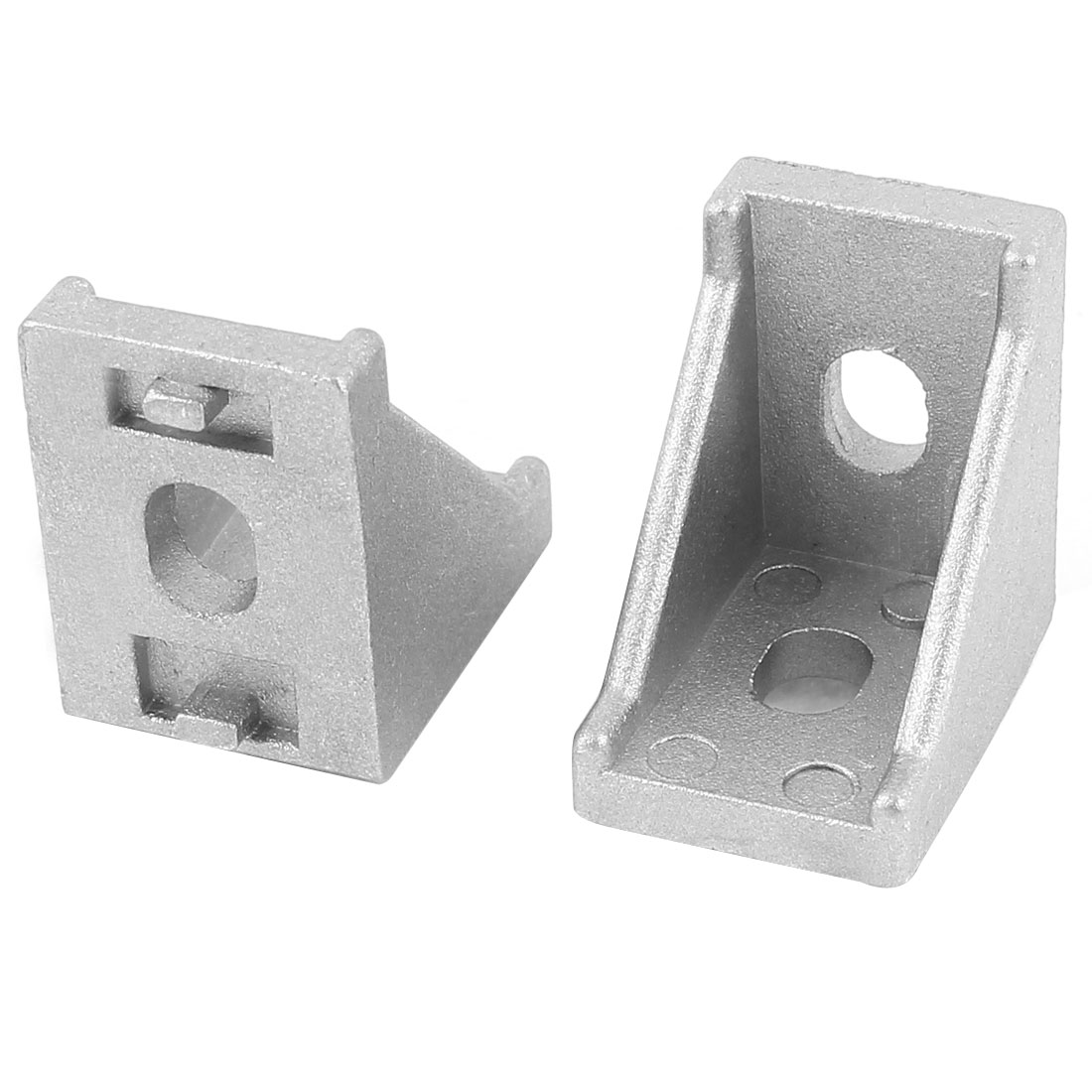 2 Pcs Silver Tone Metal 90 Degree Door Angle Bracket 20mm x 20mm