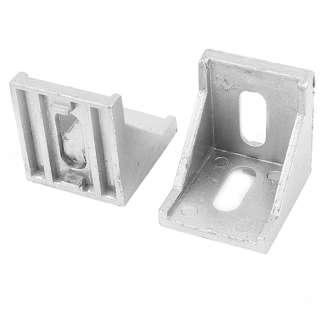 2 Pcs Silver Tone Metal 90 Degree Door Angle Bracket 40mm x 40mm