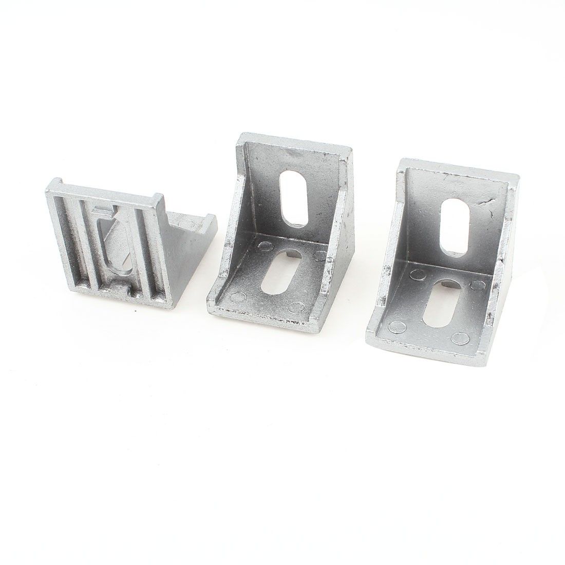 3 Pcs Silver Tone Metal 90 Degree Door Angle Bracket 40mm x 40mm