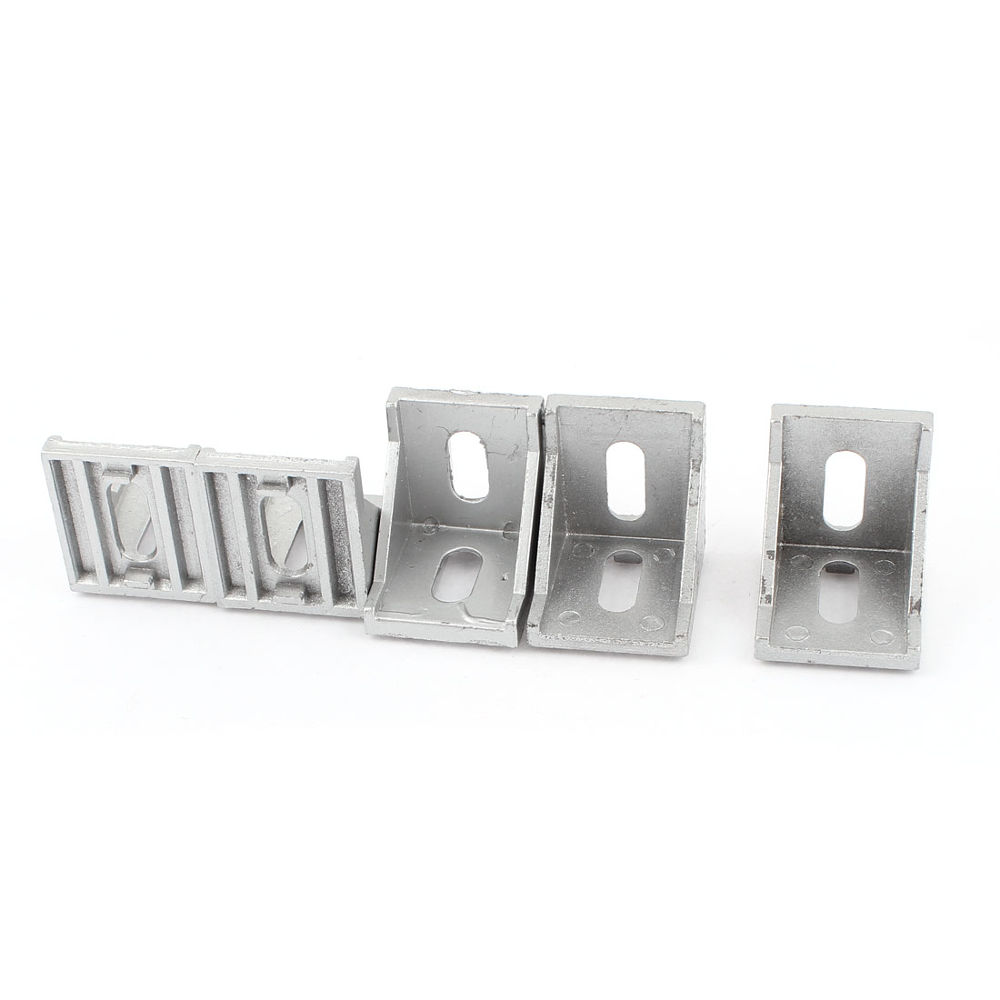 5 Pcs Silver Tone Metal 90 Degree Door Angle Bracket 40mm x 40mm