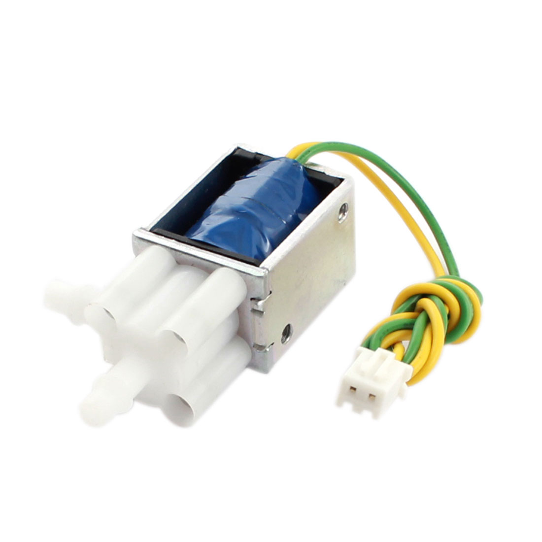 DC 12V 0.4A 4.8W 50% 23cm Long Wired Connect 2-Outlet Open Frame Electromagnet Solenoid Valve
