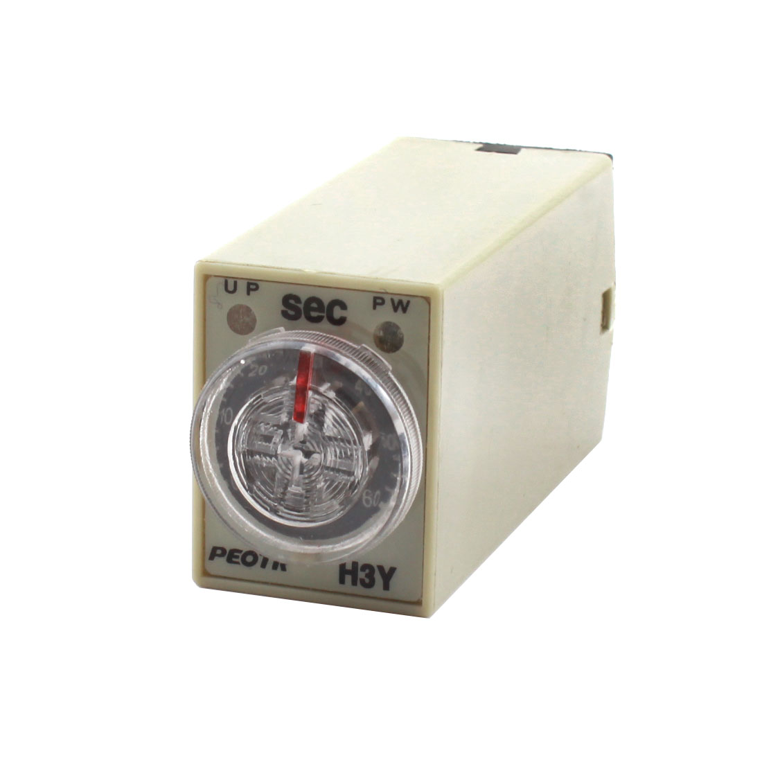 H3Y-4 AC 220V 0-60 Sec 8Pin 4PDT 4NO 4NC Plugable Type Knob Control Time Delay Timer Relay