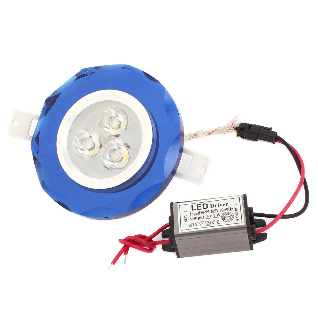 Warm White 3W 3 LEDs Blue Flower Shape Ceiling Downlight Lamp Spot Light AC 95-265V