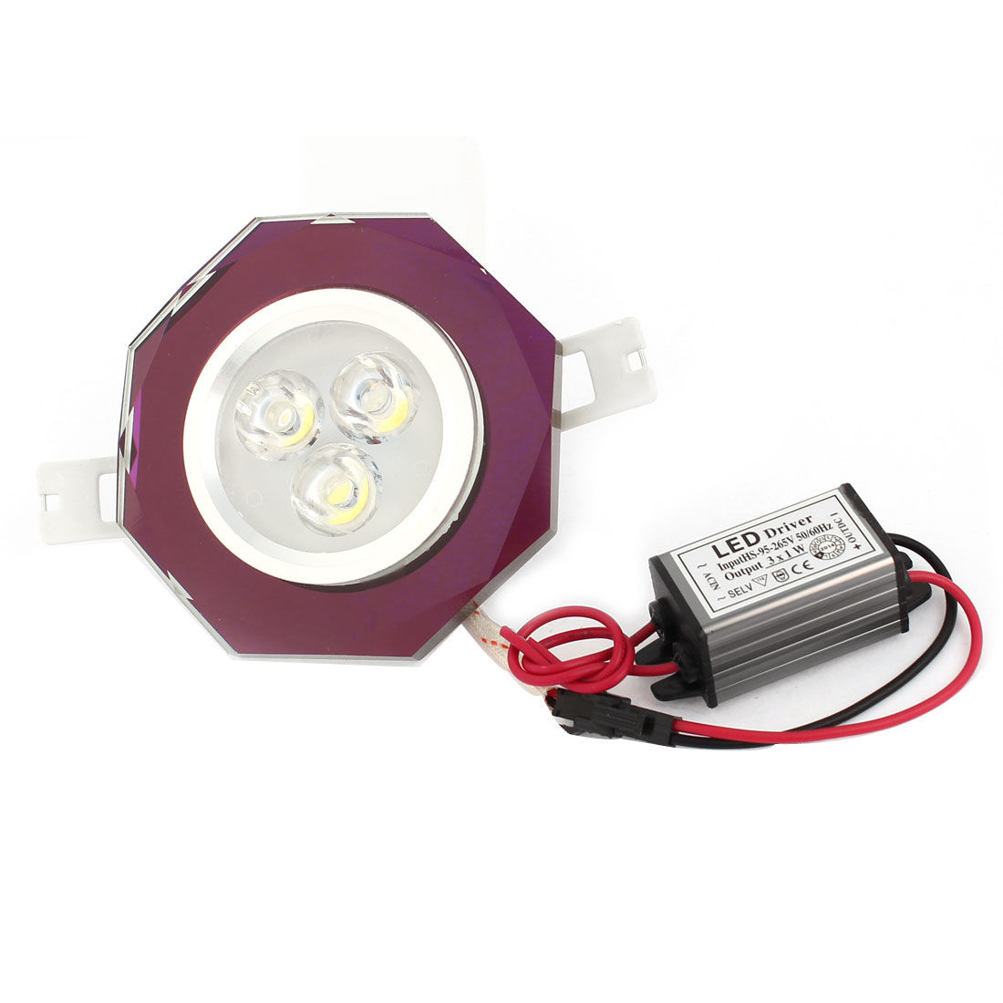 White 3W 3 LEDs Purple Faux Crystal Ceiling Downlight Lamp Spot Light AC 95-265V