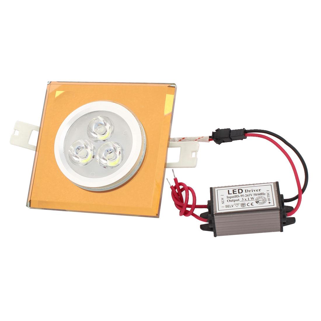 White 3W 3 LEDs Brown Square Ceiling Downlight Lamp Spot Light Bulb AC 95-265V