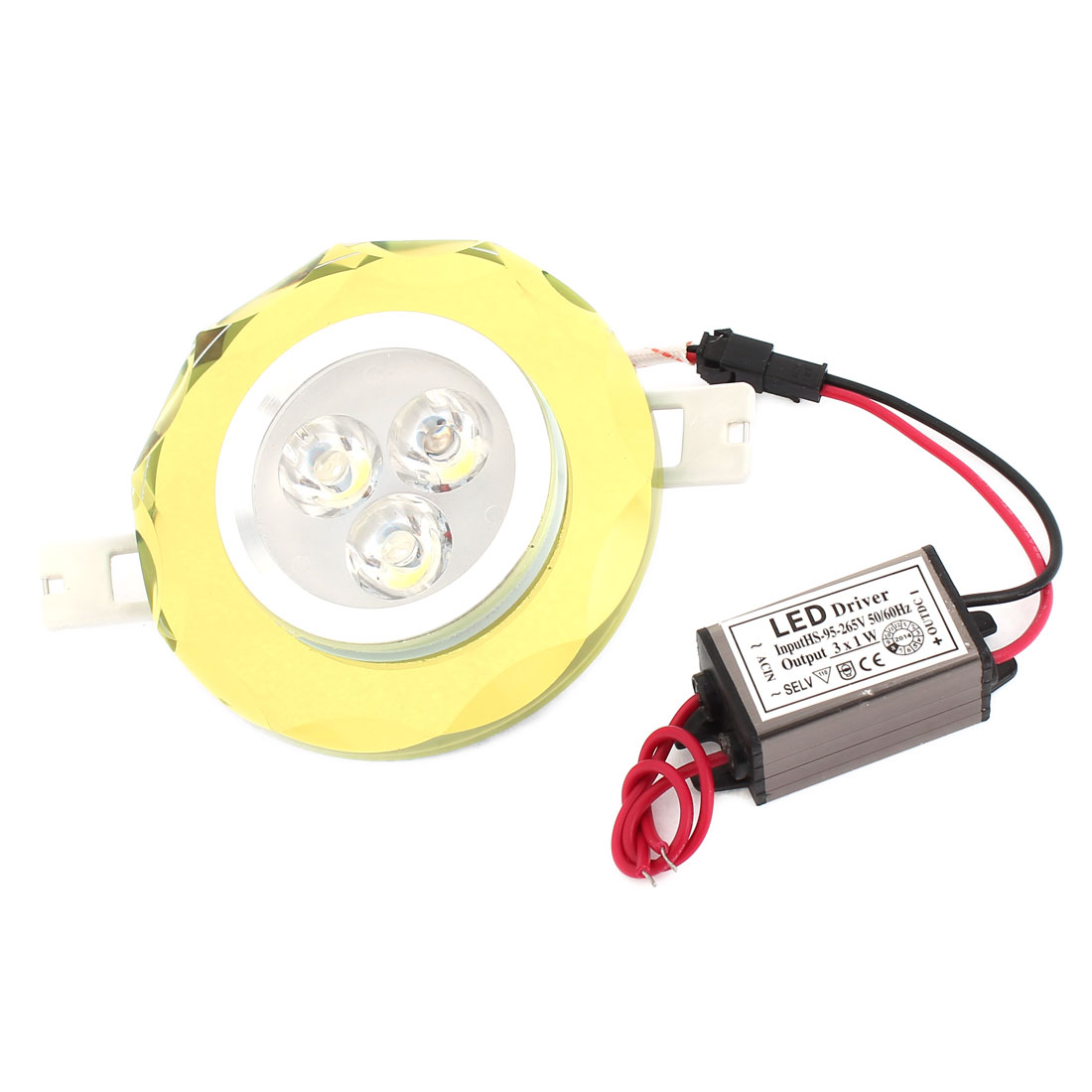 White 3W 3 LEDs Yellow Faux Crystal Ceiling Downlight Lamp Spot Light AC 95-265V