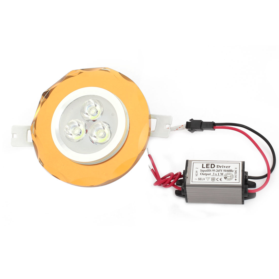 White 3W 3 LEDs Brown Round Ceiling Downlight Lamp Spot Light AC 95-265V