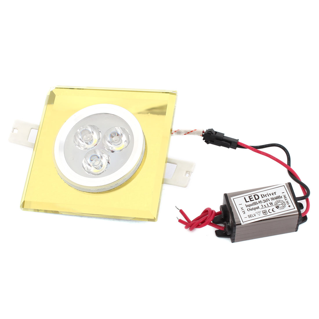 White 3W 3 LED Faux Crystal Ceiling Downlight Recessed Lamp Spot Light AC95-265V