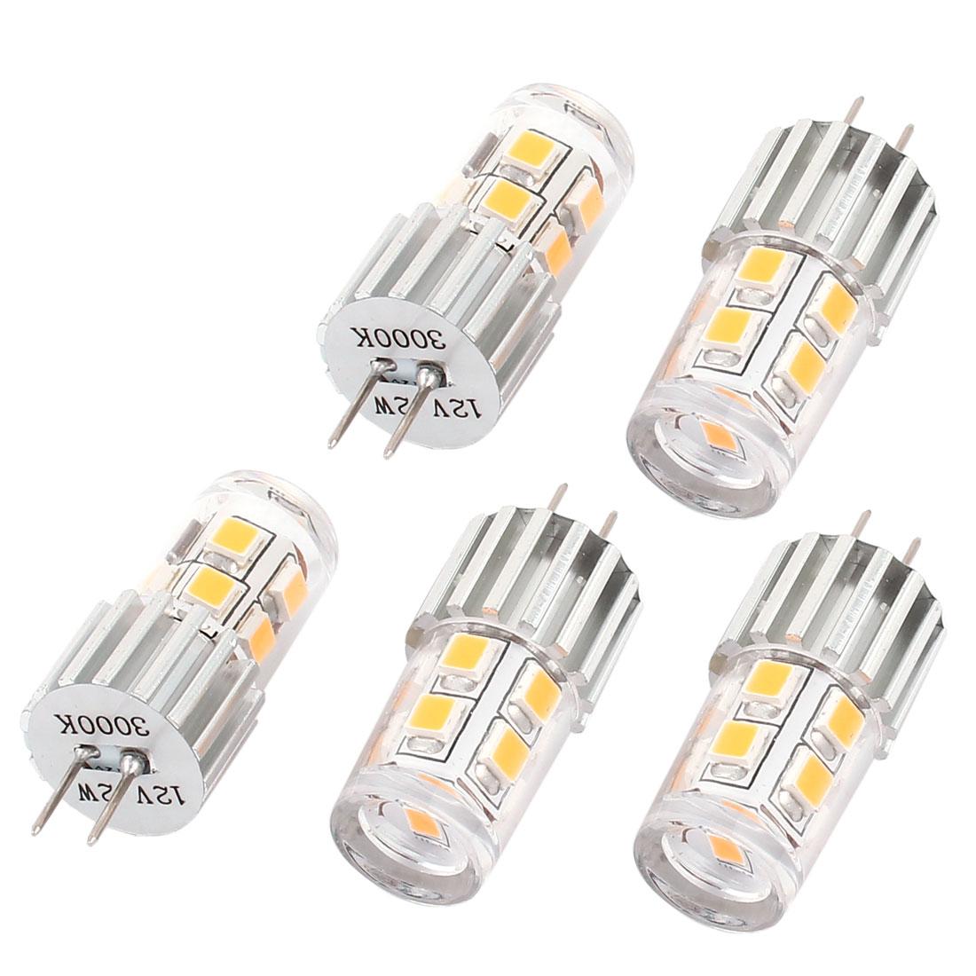 5pcs 180LM Energy Saving G4 Base 2W 2835 SMD 12 LED Bulb Corn Light Warm White