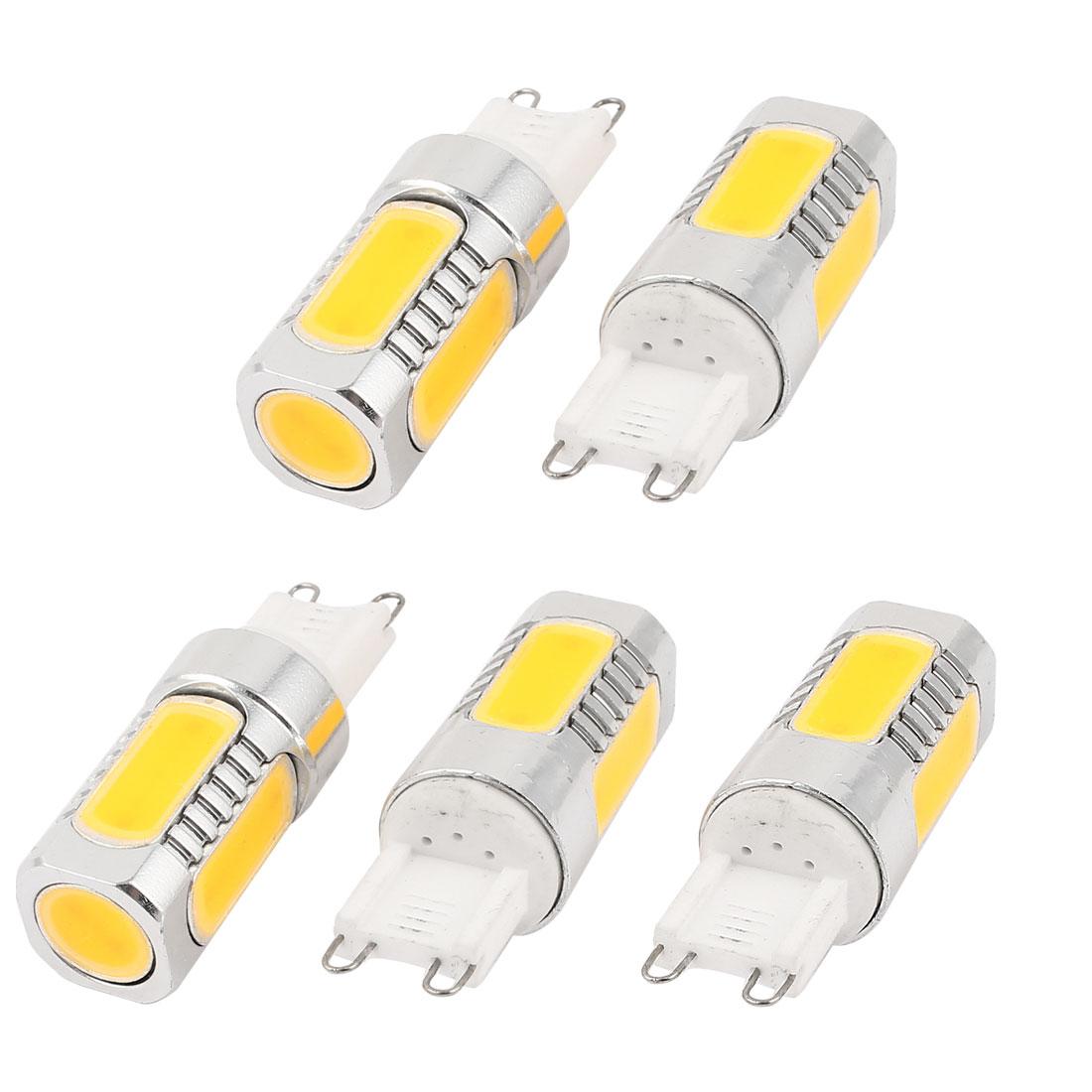 5 Pcs Energy Saving G9 6D 7.5W 5 COB LED Bulb Lamp Light Warm White AC95-265V