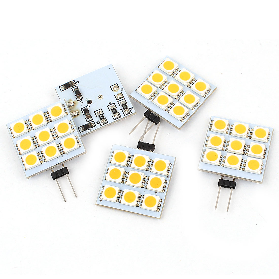 5pcs 90-100LM G4 5050 SMD 9 LED Cabinet Marine Boat Light Bulb Lamp Warm White