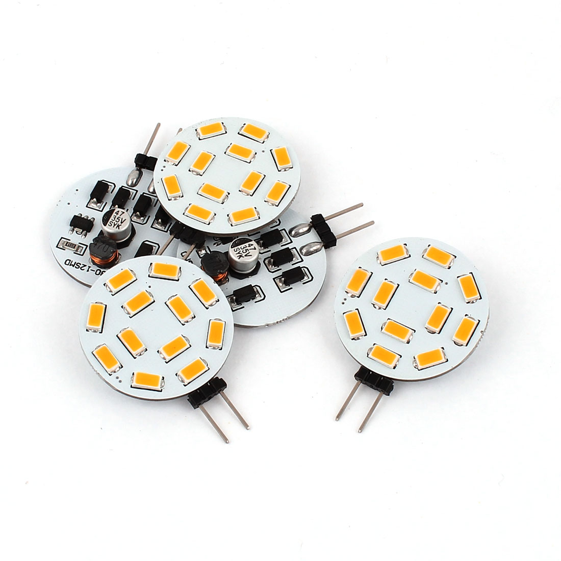 5pcs 460LM G4 5730 SMD 12 LED Cabinet Marine Boat Light Bulb Lamp Warm White