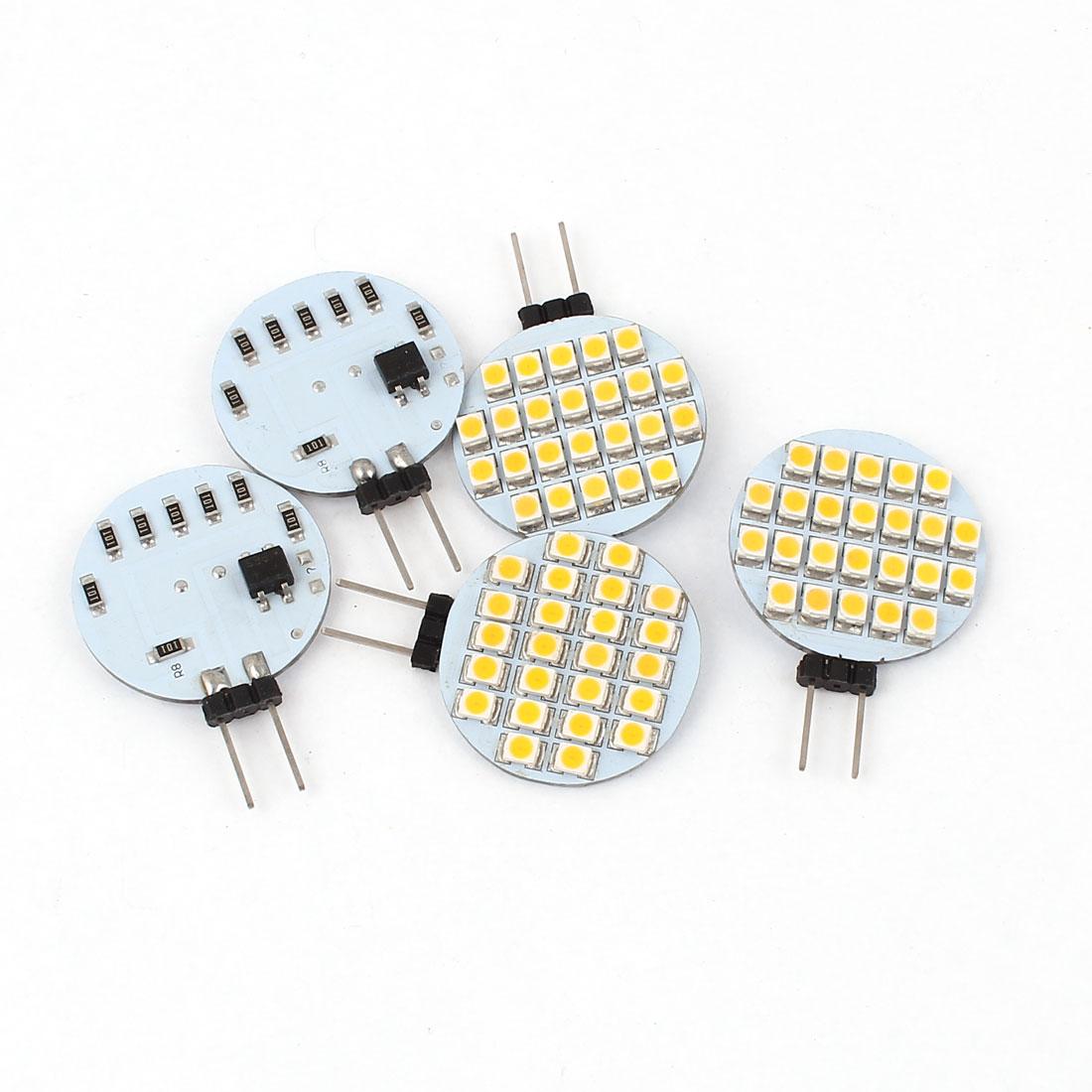 5 x 70-80LM Energy Saving G4 3528 SMD 24 LED Light Bulb Lamp Warm White