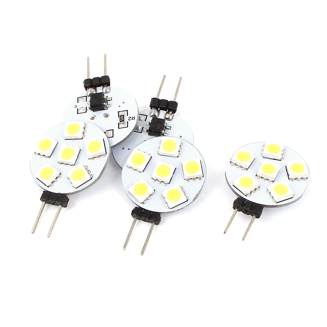 5 Pcs G4 5050 SMD 6 LED Cabinet Marine Boat Light Bulb Lamp White DC12V