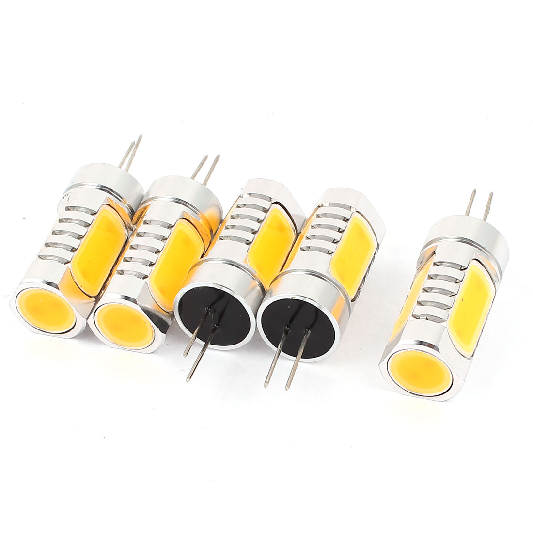 5 Pcs Energy Saving G4 6D 6W 4 LED Bulb Lamp Light Warm White