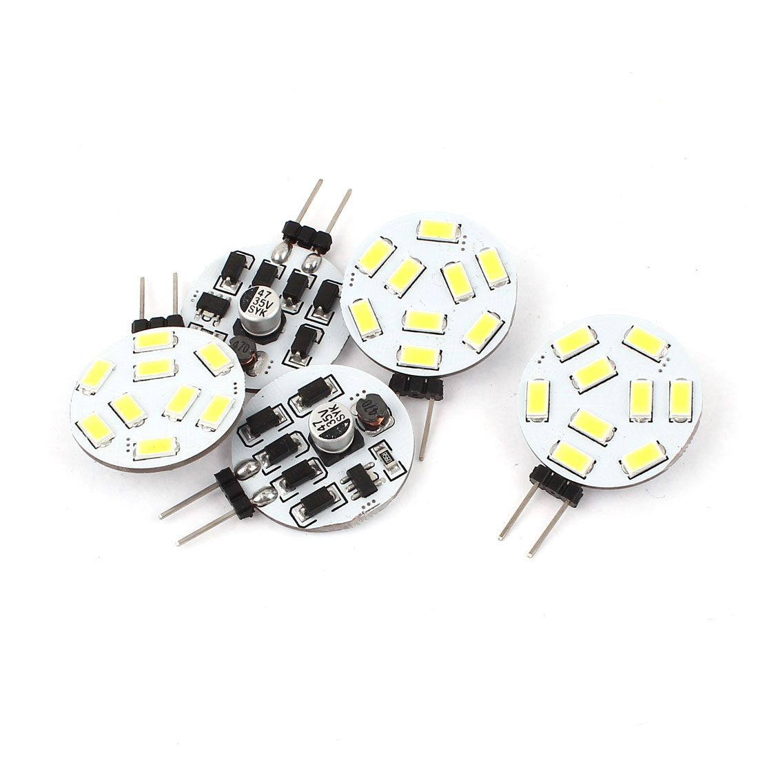 5 x 120 Degree 1.2W G4 5730 SMD 9 LED Cabinet Marine Boat Light Bulb Lamp White