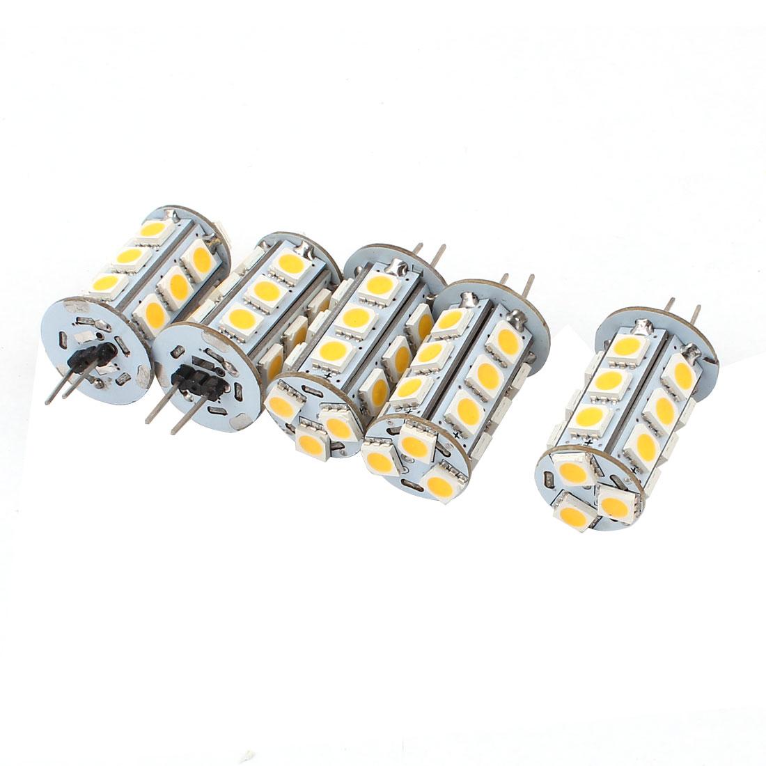 5 x 250-270Lm Energy Saving G4 5050 SMD 18 LED Light Bulb Lamp Warm White