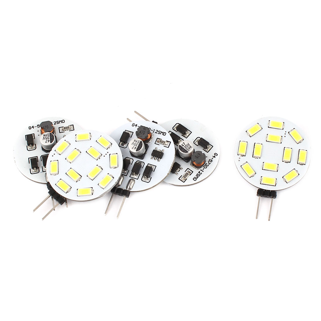 5pcs 120 Degree G4 5730 SMD 12 LED White Light Lamp Car Spot Nonpolarity