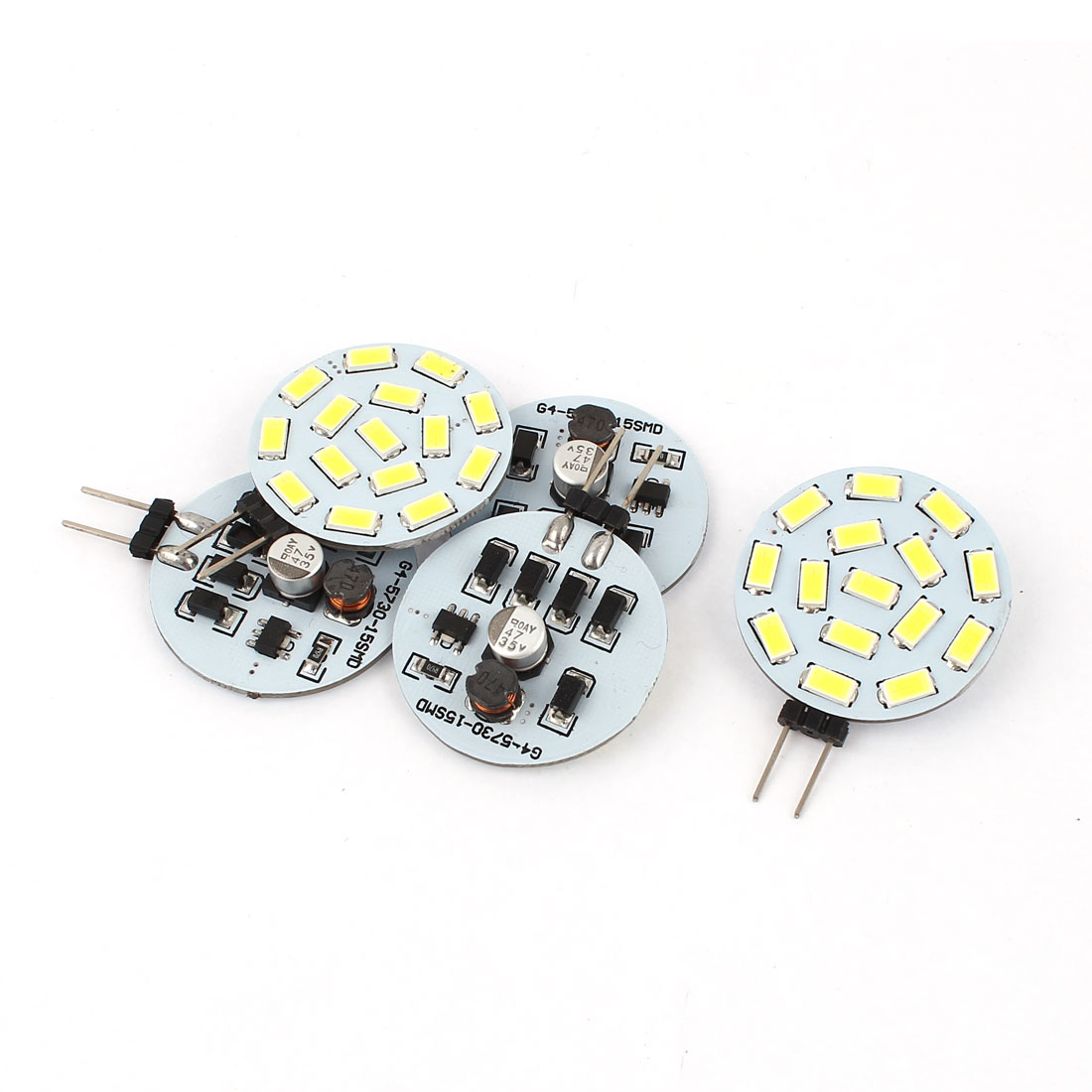 5 x 120 Degree G4 5730 SMD 15 LED Cabinet Marine Boat Light Bulb Lamp White