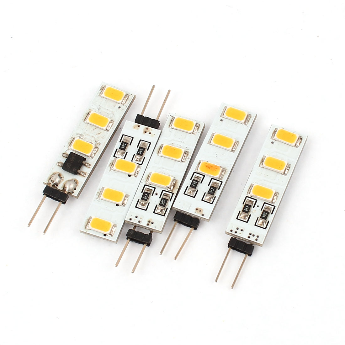 5pcs 80-100LM 360 Degree G4 5630 SMD 6 LED Cabinet Light Bulb Lamp Warm White